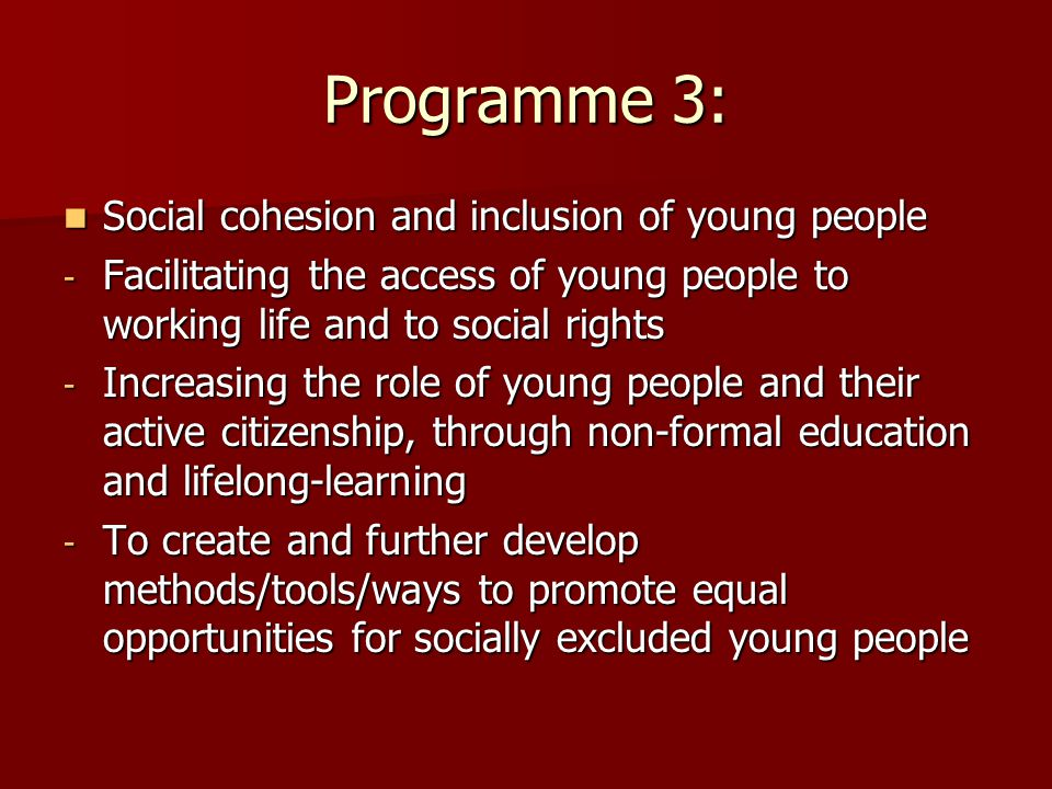 Programme 3: Social cohesion and inclusion of young people Social cohesion and inclusion of young people - Facilitating the access of young people to