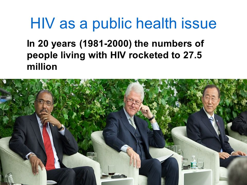 HIV as a public health issue In 20 years ( ) the numbers of people living with HIV rocketed to 27.5 million