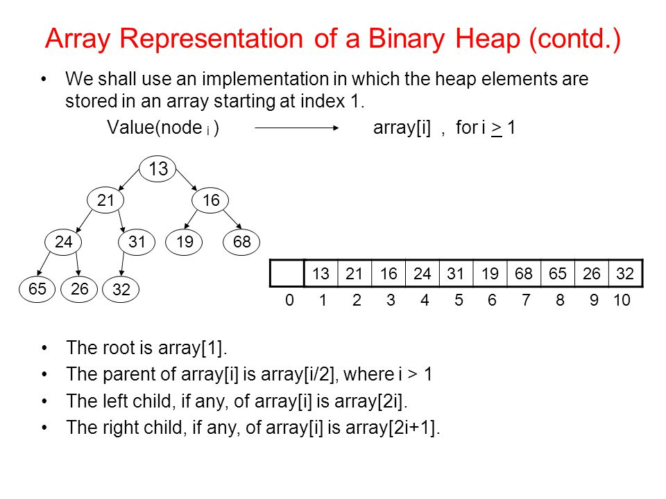 Array Representation of a Binary Heap (contd.) We shall use an implementation in which the heap elements are stored in an array starting at index 1.