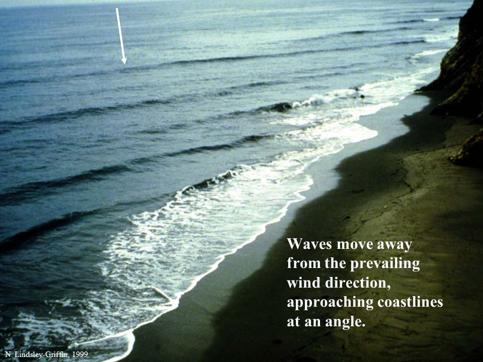 Waves move away from the prevailing wind direction, approaching coastlines at an angle.