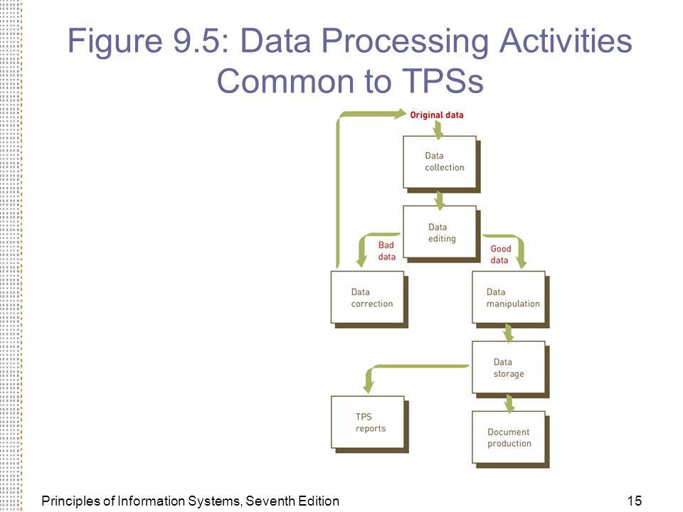 Principles of Information Systems, Seventh Edition15 Figure 9.5: Data Processing Activities Common to TPSs