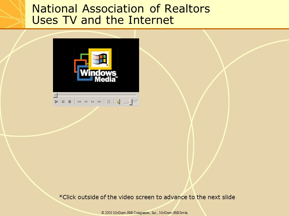 National Association of Realtors Uses TV and the Internet © 2003 McGraw-Hill Companies, Inc., McGraw-Hill/Irwin *Click outside of the video screen to advance to the next slide