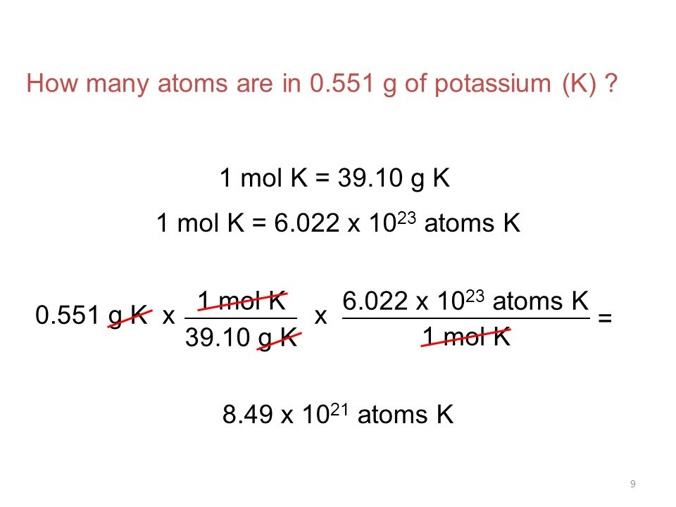 9 x x atoms K 1 mol K = How many atoms are in g of potassium (K) .