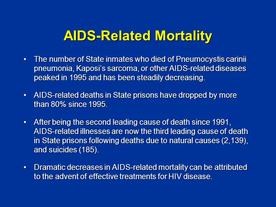 AIDS-Related Mortality The number of State inmates who died of Pneumocystis carinii pneumonia, Kaposi's sarcoma, or other AIDS-related diseases peaked in 1995 and has been steadily decreasing.The number of State inmates who died of Pneumocystis carinii pneumonia, Kaposi's sarcoma, or other AIDS-related diseases peaked in 1995 and has been steadily decreasing.