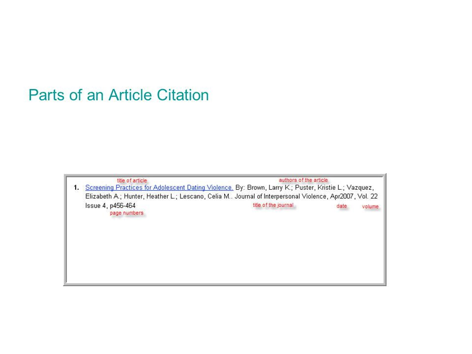 Parts of an Article Citation