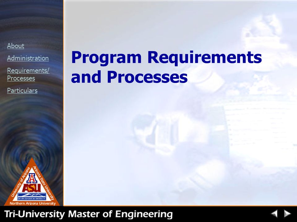 About Administration Requirements/ Processes Particulars Program Requirements and Processes
