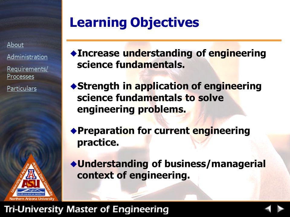 About Administration Requirements/ Processes Particulars Learning Objectives u Increase understanding of engineering science fundamentals.