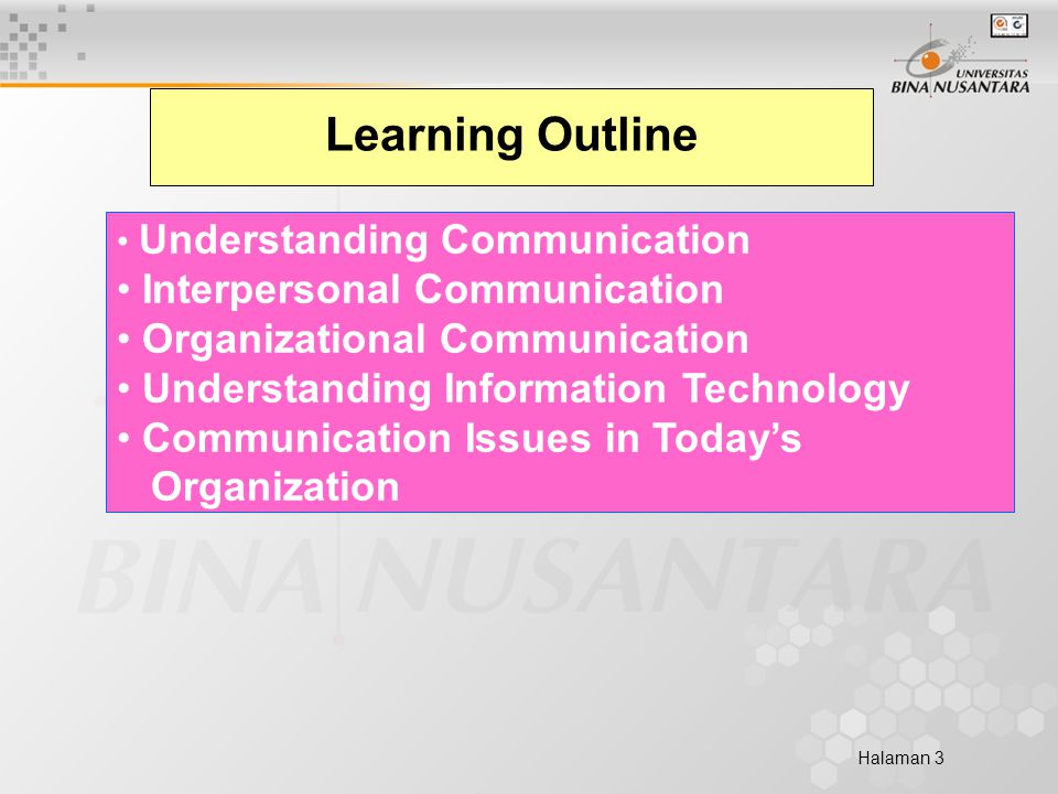 Halaman 3 Learning Outline Understanding Communication Interpersonal Communication Organizational Communication Understanding Information Technology Communication Issues in Today's Organization
