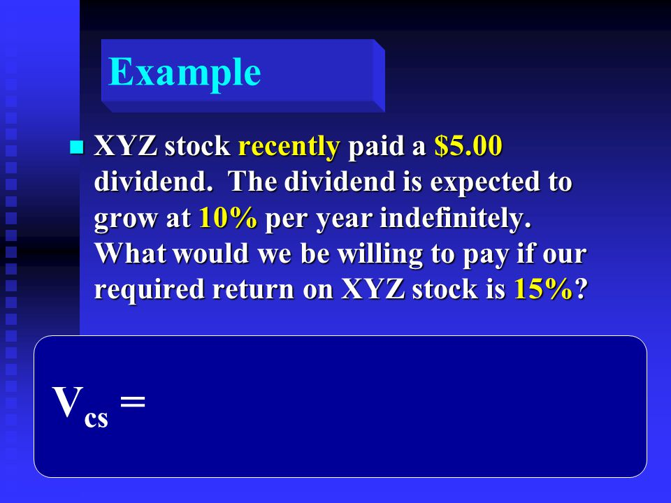 Example n XYZ stock recently paid a $5.00 dividend.