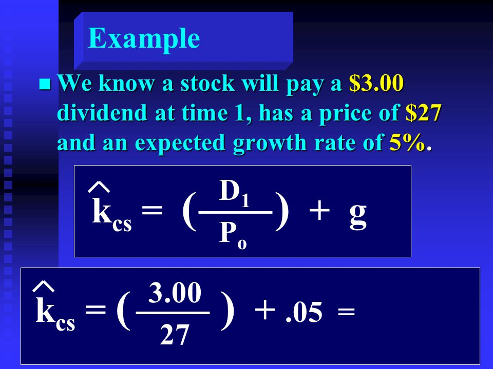 Example n We know a stock will pay a $3.00 dividend at time 1, has a price of $27 and an expected growth rate of 5%.