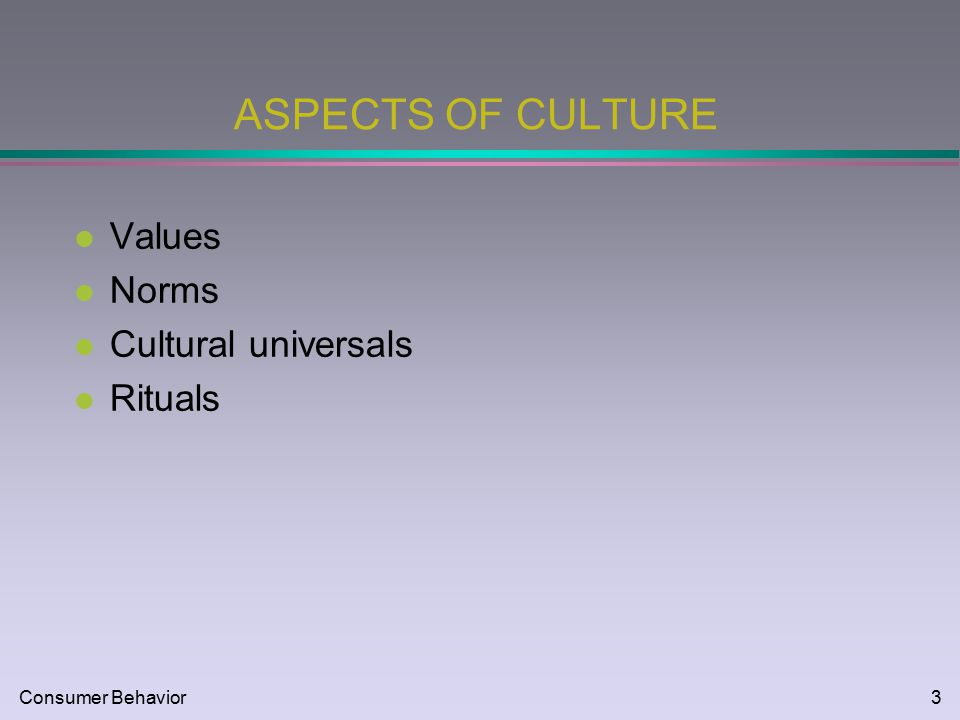 Consumer behavior1 cultural influences mkt consumer behavior2 3 consumer behavior3 aspects of culture l values l norms l cultural universals l rituals malvernweather