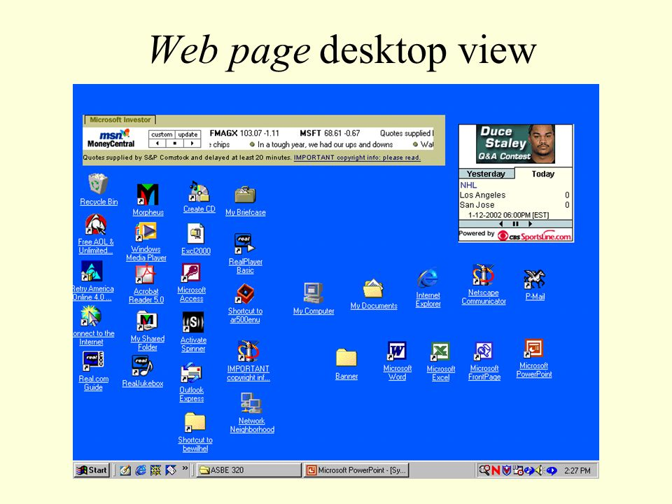 Web page desktop view