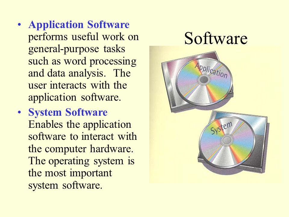 Application Software performs useful work on general-purpose tasks such as word processing and data analysis.