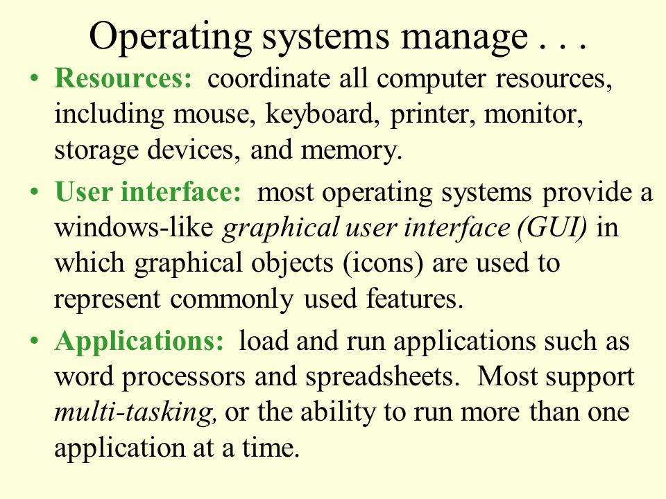 Operating systems manage...