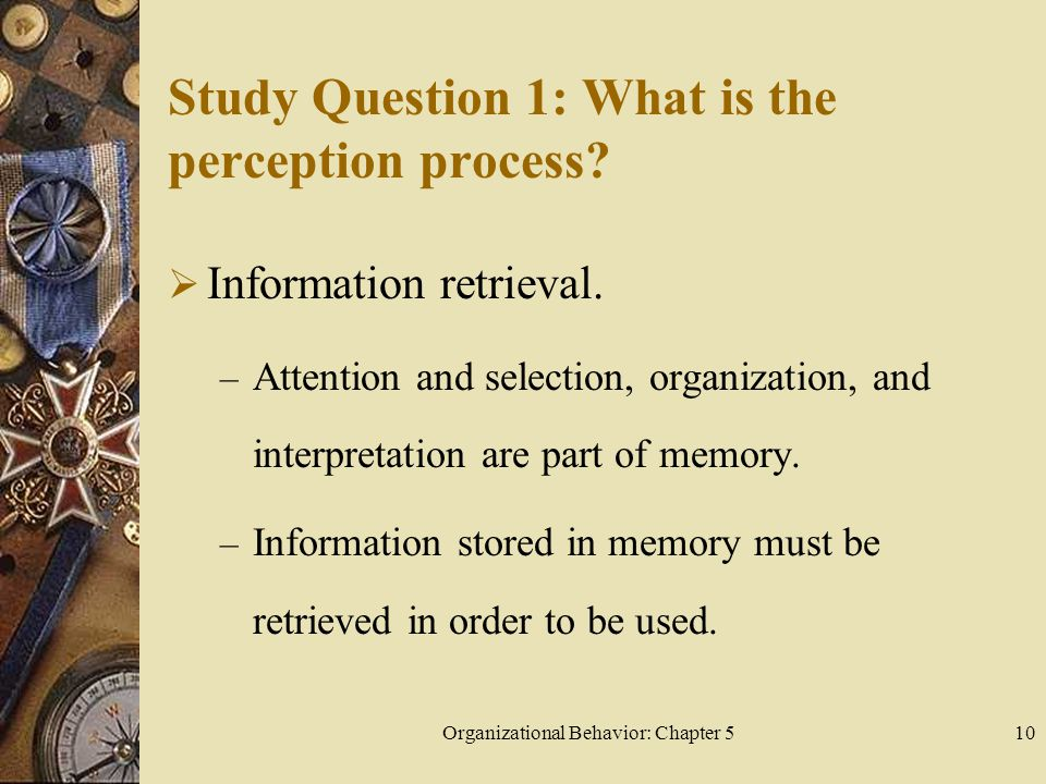Organizational Behavior: Chapter 510 Study Question 1: What is the perception process.