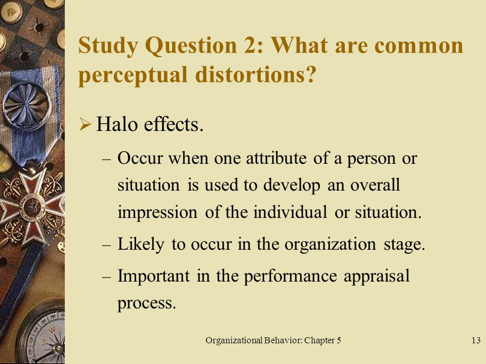 Organizational Behavior: Chapter 513 Study Question 2: What are common perceptual distortions.