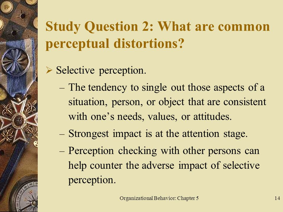 Organizational Behavior: Chapter 514 Study Question 2: What are common perceptual distortions.