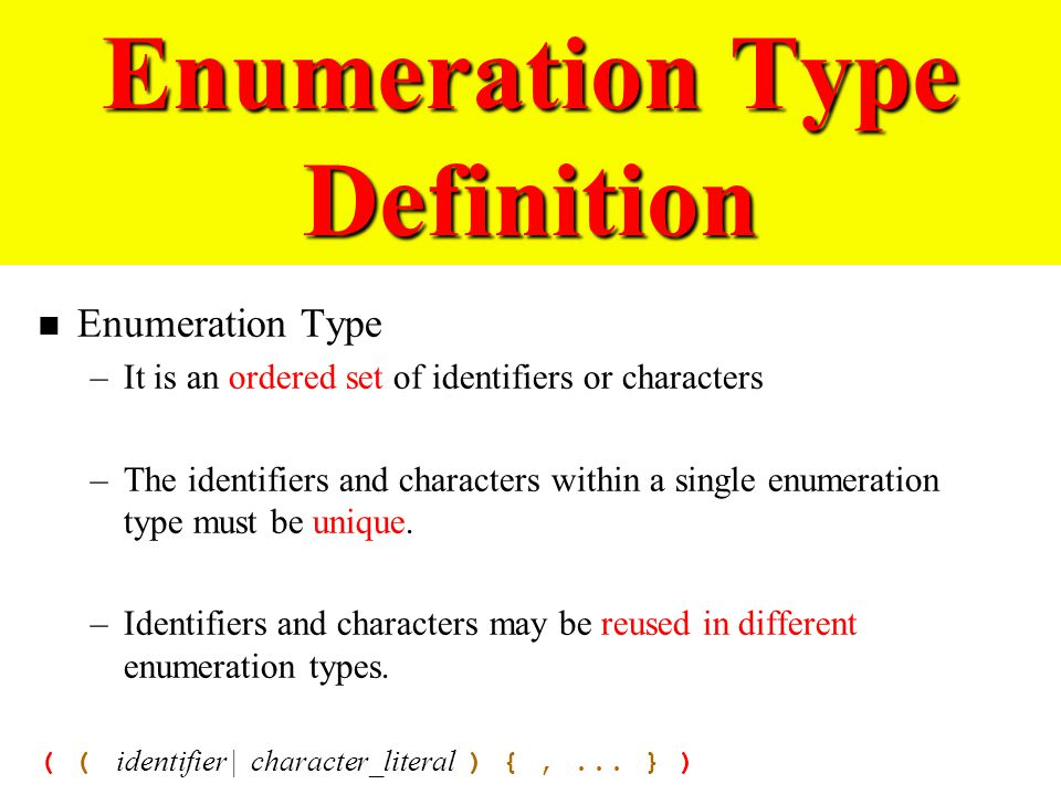 Exceptional 44 Enumeration Type Definition