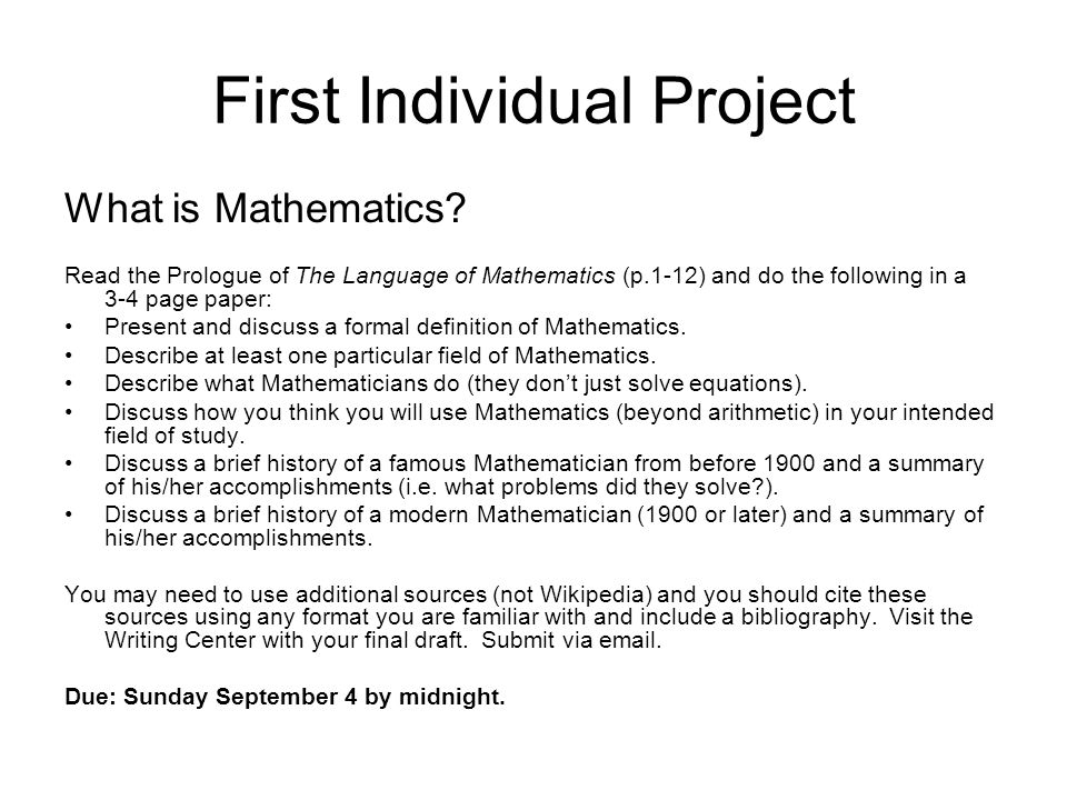 First Individual Project What is Mathematics.