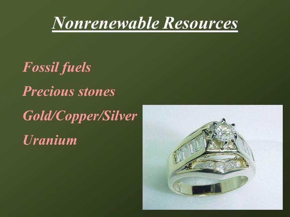 Nonrenewable Resources Fossil fuels Precious stones Gold/Copper/Silver Uranium