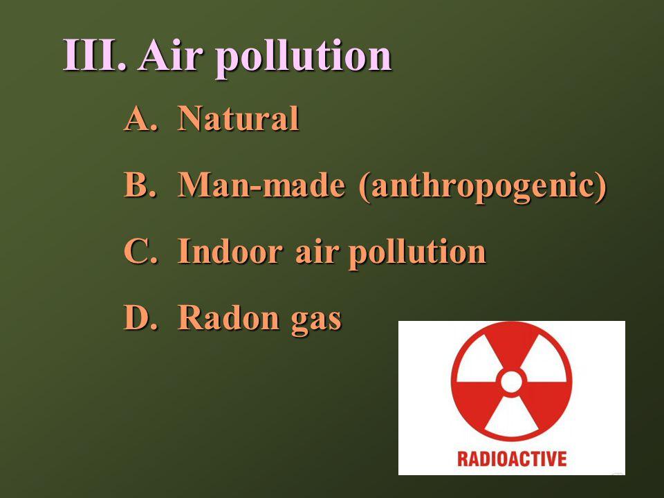 III. Air pollution A.Natural B.Man-made (anthropogenic) C.Indoor air pollution D.Radon gas