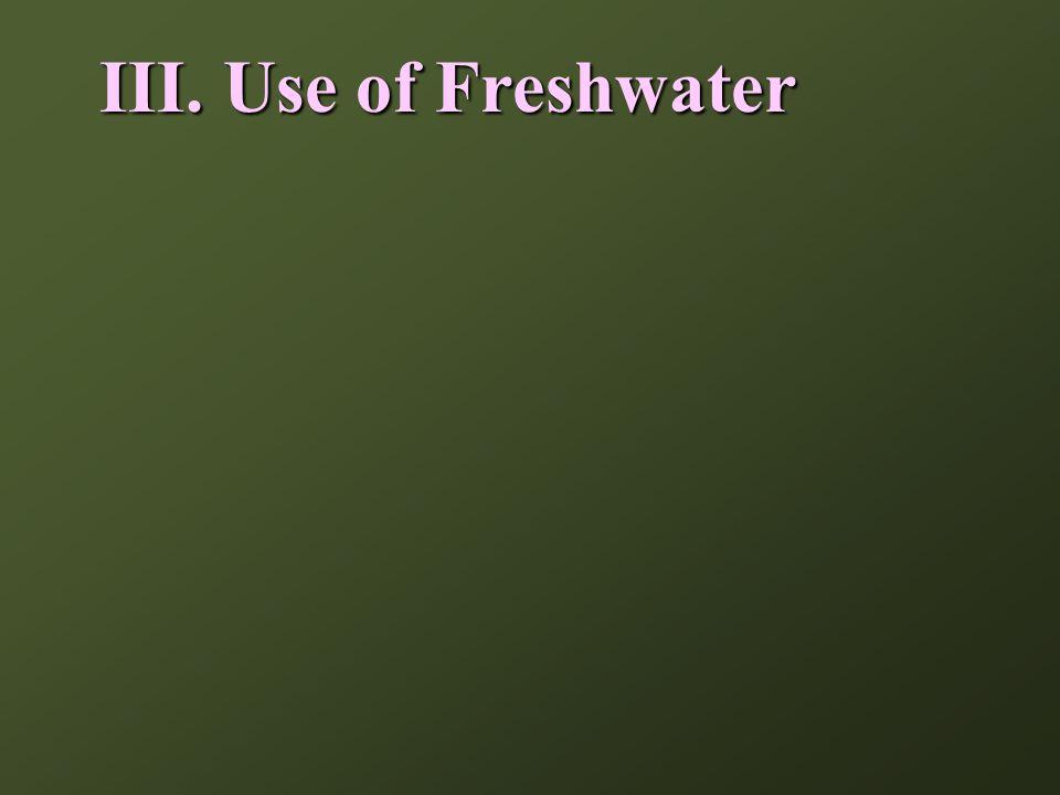 III. Use of Freshwater