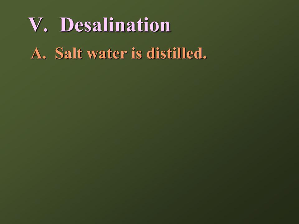 A.Salt water is distilled. V. Desalination