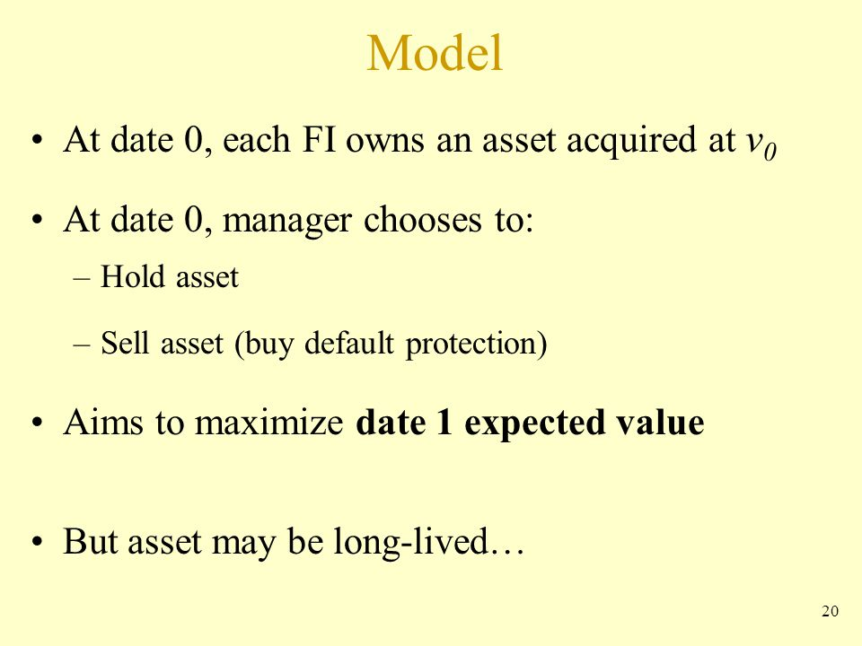 20 Model At date 0, each FI owns an asset acquired at v 0 At date 0, manager chooses to: –Hold asset –Sell asset (buy default protection) Aims to maximize date 1 expected value But asset may be long-lived…