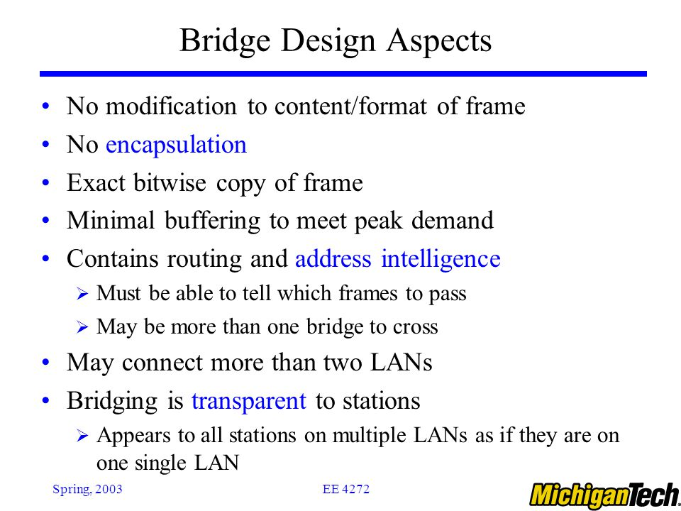EE 4272Spring, 2003 Bridge Design Aspects No modification to content/format of frame No encapsulation Exact bitwise copy of frame Minimal buffering to meet peak demand Contains routing and address intelligence  Must be able to tell which frames to pass  May be more than one bridge to cross May connect more than two LANs Bridging is transparent to stations  Appears to all stations on multiple LANs as if they are on one single LAN
