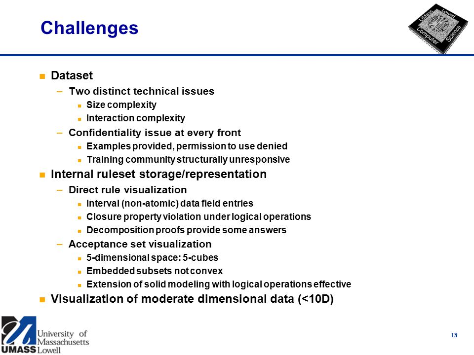 18 Challenges n Dataset –Two distinct technical issues n Size complexity n Interaction complexity –Confidentiality issue at every front n Examples provided, permission to use denied n Training community structurally unresponsive n Internal ruleset storage/representation –Direct rule visualization n Interval (non-atomic) data field entries n Closure property violation under logical operations n Decomposition proofs provide some answers –Acceptance set visualization n 5-dimensional space: 5-cubes n Embedded subsets not convex n Extension of solid modeling with logical operations effective n Visualization of moderate dimensional data (<10D)