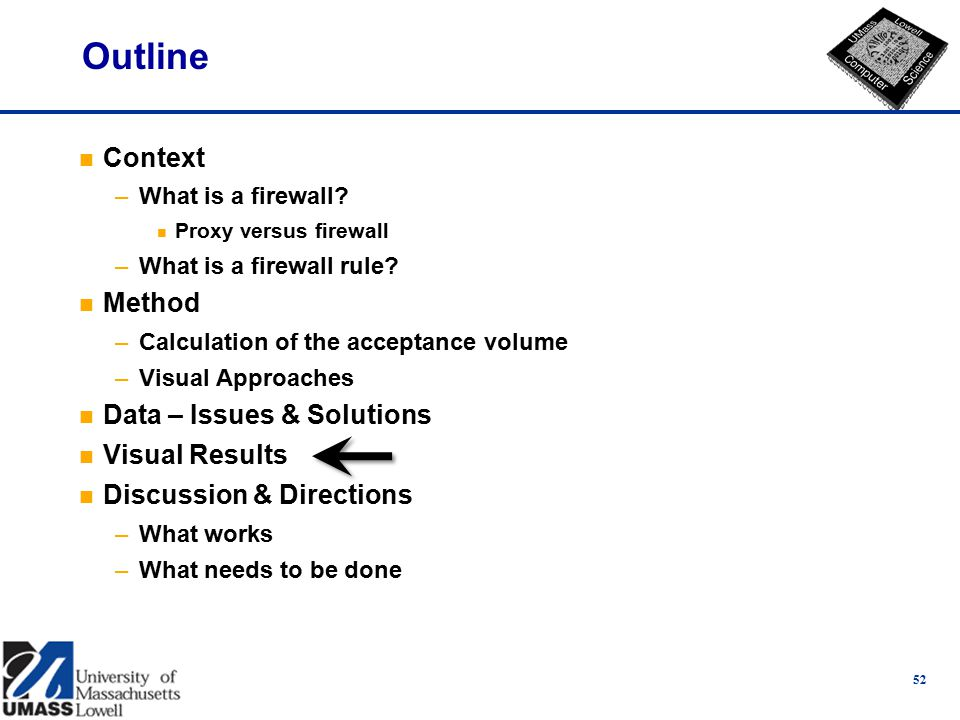 52 Outline n Context –What is a firewall. n Proxy versus firewall –What is a firewall rule.
