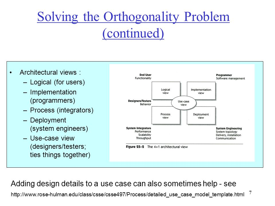 7 Solving the Orthogonality Problem (continued) Architectural views : –Logical (for users) –Implementation (programmers) –Process (integrators) –Deployment (system engineers) –Use-case view (designers/testers; ties things together) Adding design details to a use case can also sometimes help - see