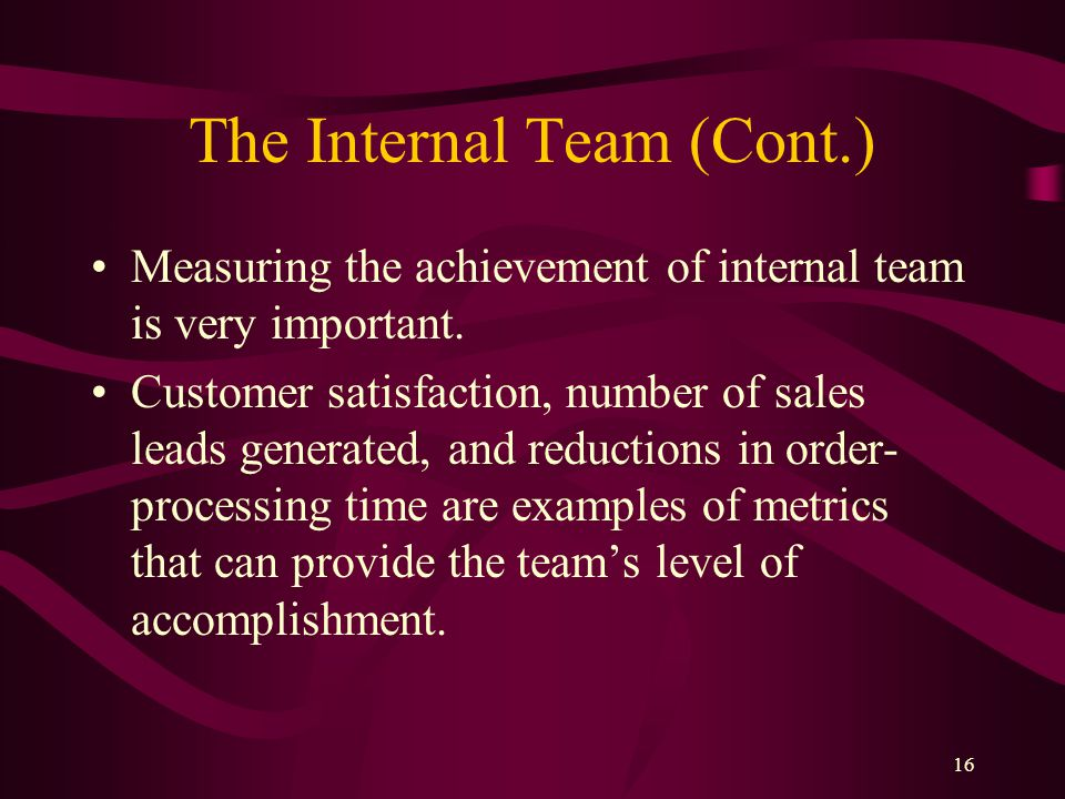 16 The Internal Team (Cont.) Measuring the achievement of internal team is very important.