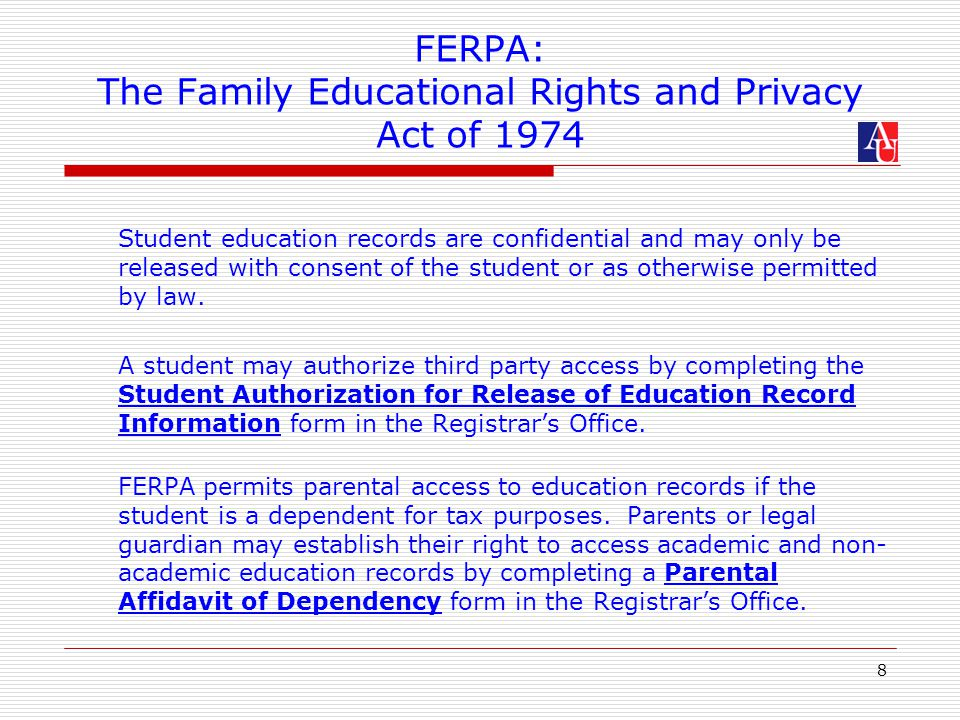 Ferpa A Guide For Faculty At American University The Federal