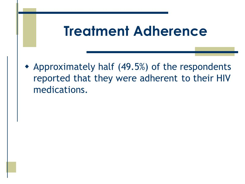 Treatment Adherence  Approximately half (49.5%) of the respondents reported that they were adherent to their HIV medications.