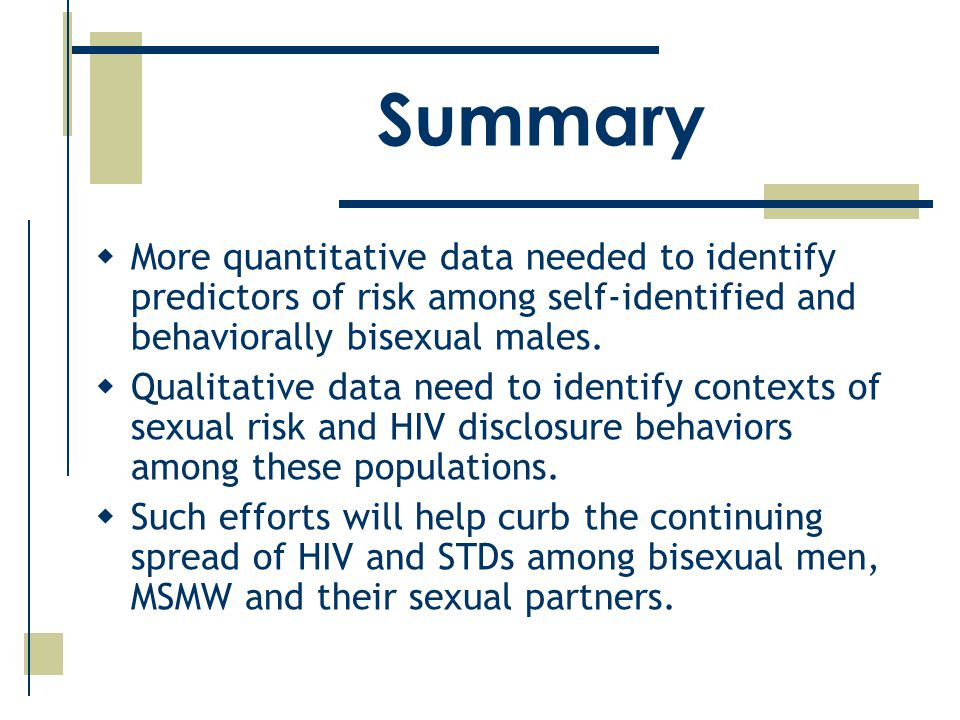  More quantitative data needed to identify predictors of risk among self-identified and behaviorally bisexual males.