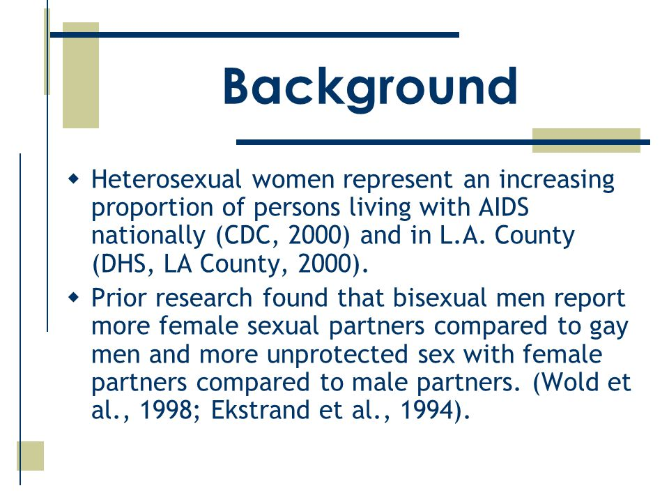  Heterosexual women represent an increasing proportion of persons living with AIDS nationally (CDC, 2000) and in L.A.