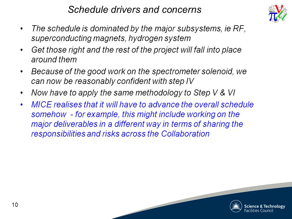 Schedule drivers and concerns The schedule is dominated by the major subsystems, ie RF, superconducting magnets, hydrogen system Get those right and the rest of the project will fall into place around them Because of the good work on the spectrometer solenoid, we can now be reasonably confident with step IV Now have to apply the same methodology to Step V & VI MICE realises that it will have to advance the overall schedule somehow - for example, this might include working on the major deliverables in a different way in terms of sharing the responsibilities and risks across the Collaboration 10