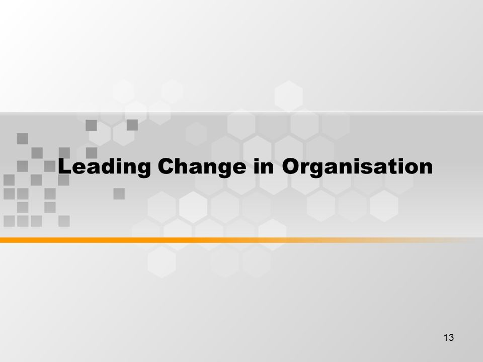 13 Leading Change in Organisation