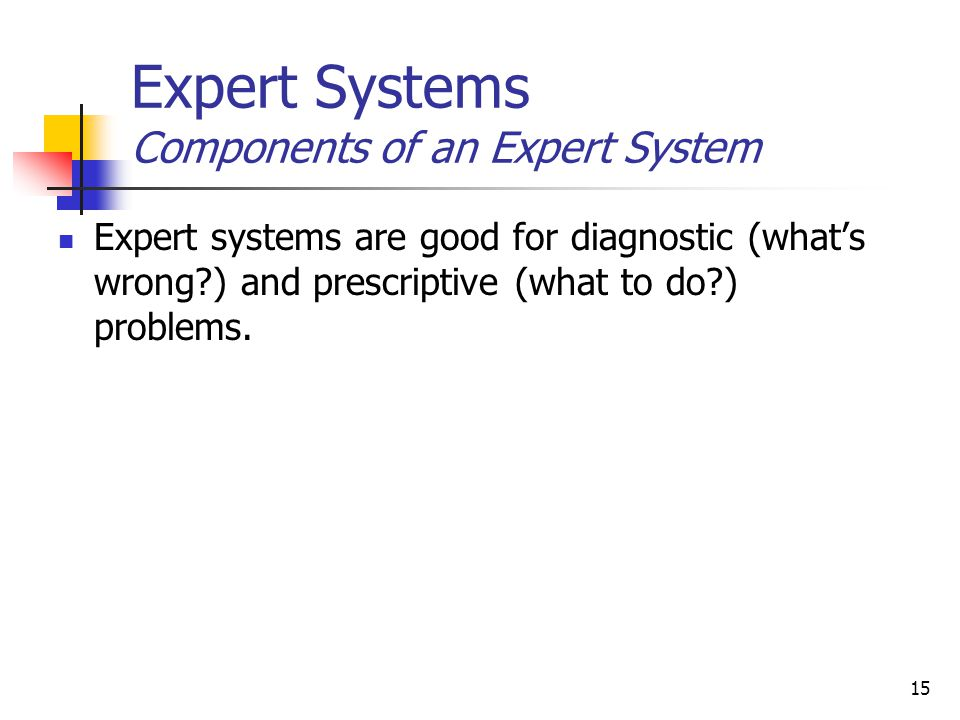 15 Expert Systems Components of an Expert System Expert systems are good for diagnostic (what's wrong ) and prescriptive (what to do ) problems.