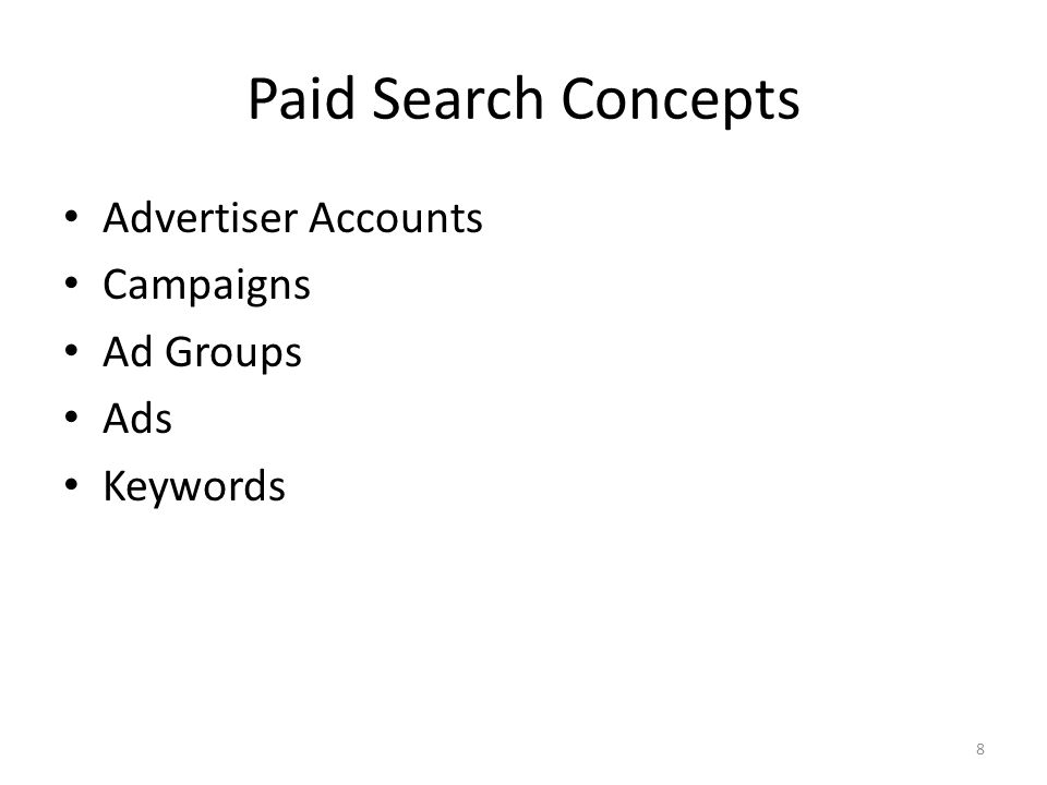 Paid Search Concepts Advertiser Accounts Campaigns Ad Groups Ads Keywords 8