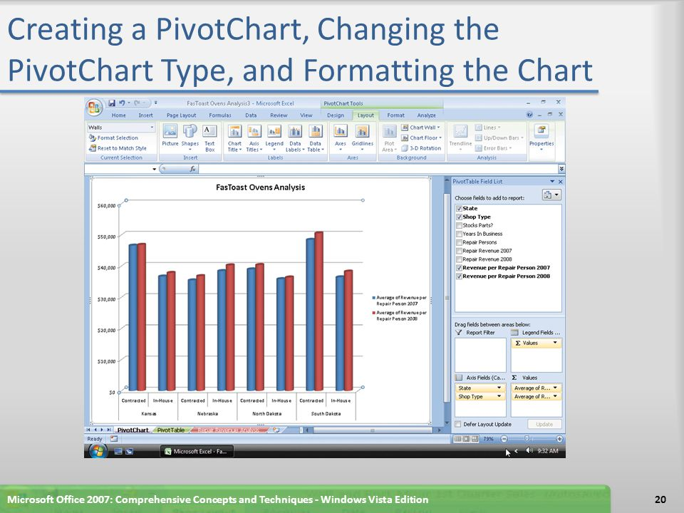 Creating a PivotChart, Changing the PivotChart Type, and Formatting the Chart Microsoft Office 2007: Comprehensive Concepts and Techniques - Windows Vista Edition20
