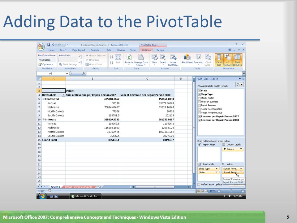 Adding Data to the PivotTable Microsoft Office 2007: Comprehensive Concepts and Techniques - Windows Vista Edition5