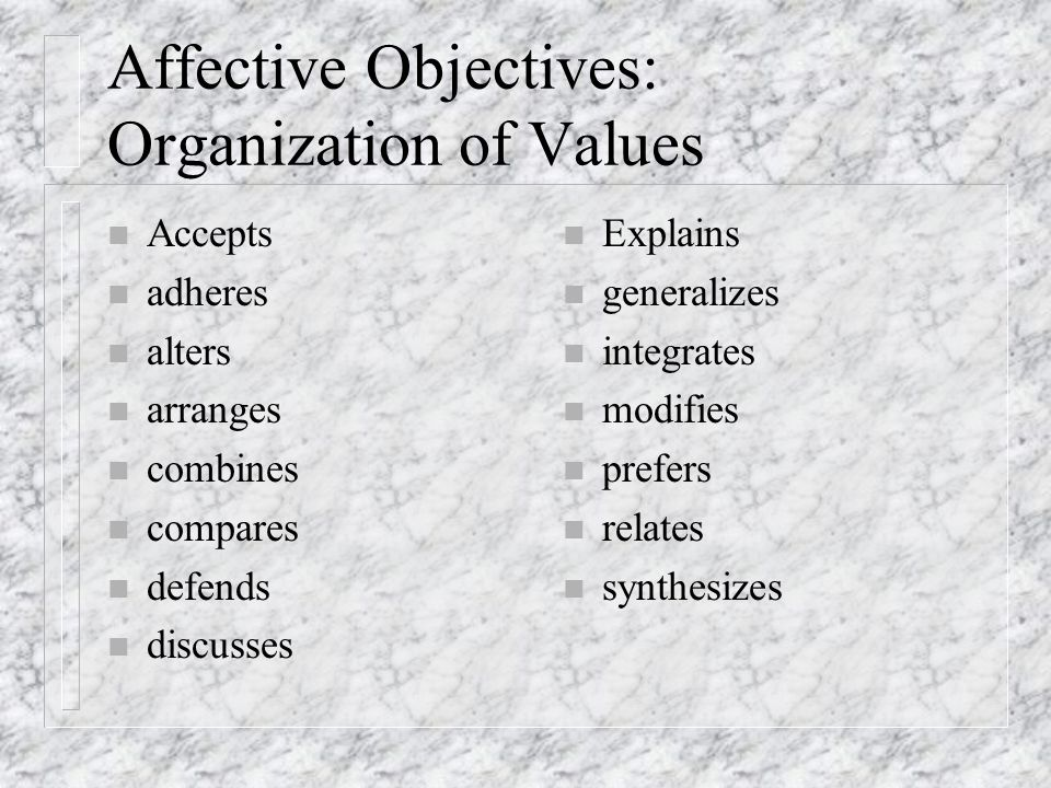 Affective Objectives: Organization of Values n Accepts n adheres n alters n arranges n combines n compares n defends n discusses n Explains n generalizes n integrates n modifies n prefers n relates n synthesizes
