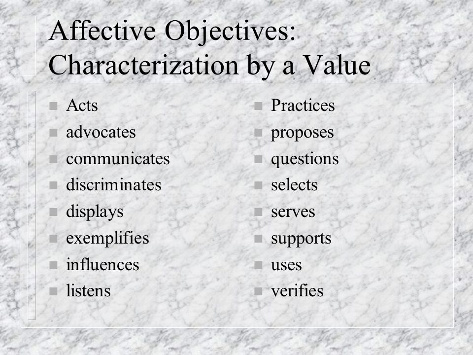 Affective Objectives: Characterization by a Value n Acts n advocates n communicates n discriminates n displays n exemplifies n influences n listens n Practices n proposes n questions n selects n serves n supports n uses n verifies