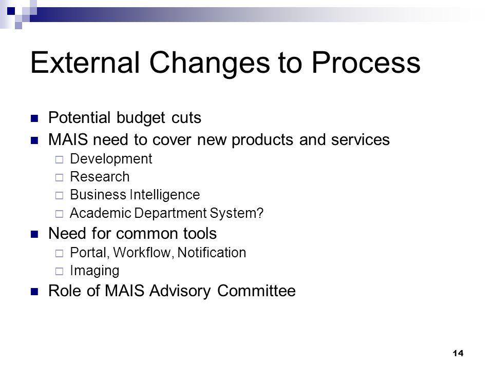 14 External Changes to Process Potential budget cuts MAIS need to cover new products and services  Development  Research  Business Intelligence  Academic Department System.