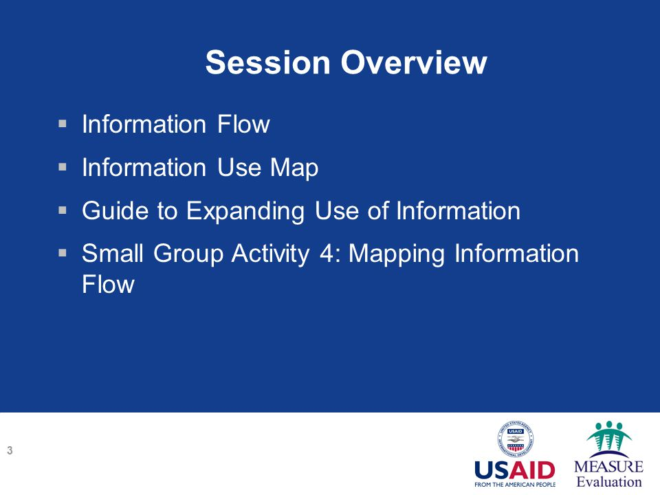 Session Overview  Information Flow  Information Use Map  Guide to Expanding Use of Information  Small Group Activity 4: Mapping Information Flow 3