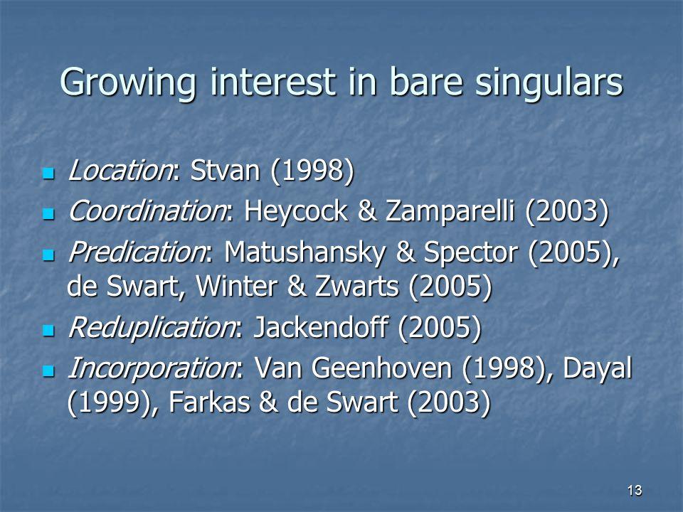 13 Growing interest in bare singulars Location: Stvan (1998) Location: Stvan (1998) Coordination: Heycock & Zamparelli (2003) Coordination: Heycock & Zamparelli (2003) Predication: Matushansky & Spector (2005), de Swart, Winter & Zwarts (2005) Predication: Matushansky & Spector (2005), de Swart, Winter & Zwarts (2005) Reduplication: Jackendoff (2005) Reduplication: Jackendoff (2005) Incorporation: Van Geenhoven (1998), Dayal (1999), Farkas & de Swart (2003) Incorporation: Van Geenhoven (1998), Dayal (1999), Farkas & de Swart (2003)
