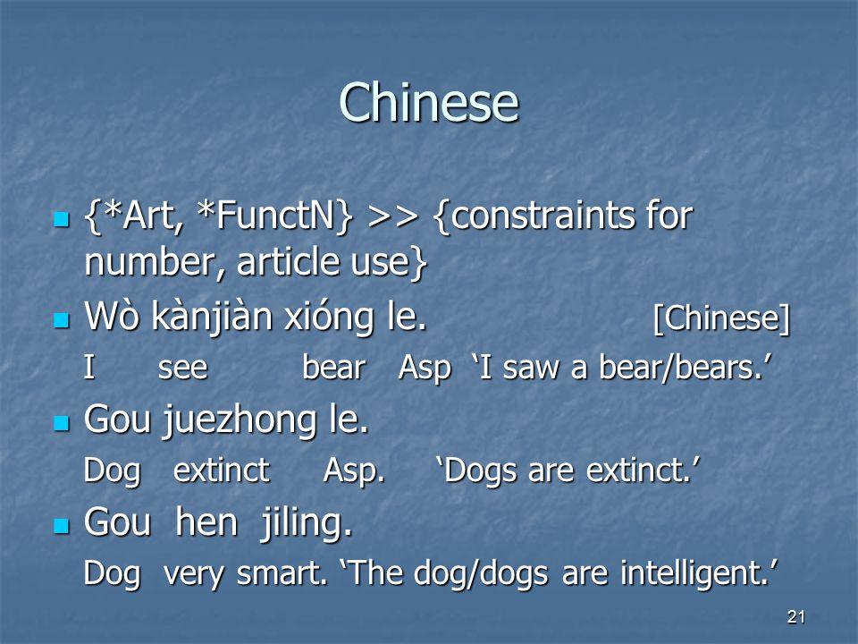 21 Chinese {*Art, *FunctN} >> {constraints for number, article use} {*Art, *FunctN} >> {constraints for number, article use} Wò kànjiàn xióng le.
