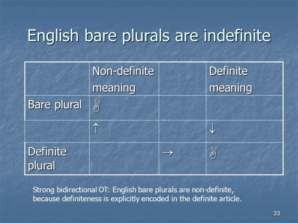 33 English bare plurals are indefinite Non-definitemeaningDefinitemeaning Bare plural   Definite plural  Strong bidirectional OT: English bare plurals are non-definite, because definiteness is explicitly encoded in the definite article.